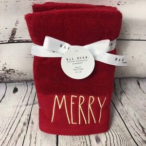 Rae Dunn MERRY Christmas Hand Towels Red/Gold x 2